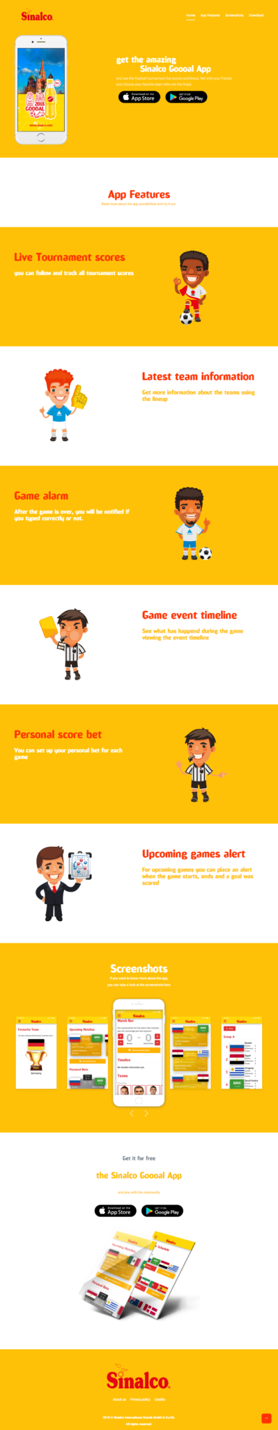page-1 Sinalco Goooal App zur Fussball Weltmeisterschaft